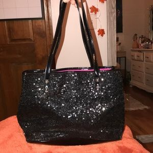 Black sparkly sequin Nine West tote